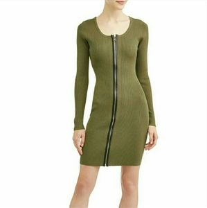 NWT SAY WHAT? BODYCON LONG SLEEVE FULL ZIP DRESS